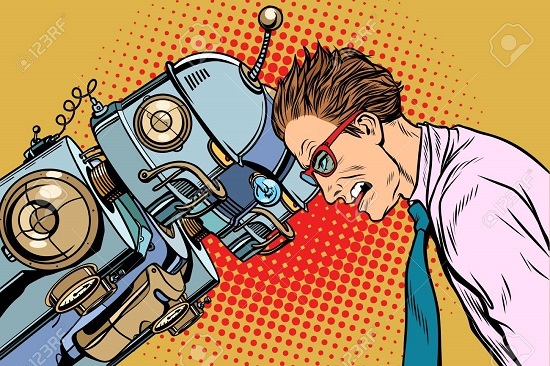 Many robots vs human, humanity and technology. Pop art retro vector vintage illustrations