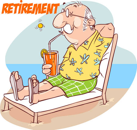 A vector illustration of happy senior retirement at the beach